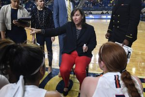 Stefanie Pemper, in her tenth season as Navy's head coach, is on the verge of becoming the most winning coach in program history. Photo courtesy of Navy Athletics.