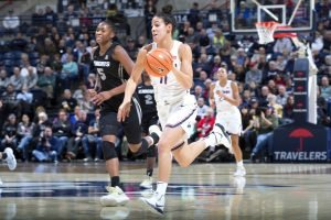 Kia Nurse initiates the fast break. Photo by Stephen Slade.