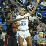 Aliyah Mazcyk guards Monique Billings. Photo by Maria Noble/WomensHoopsWorld.