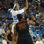 Monique Billings leaps for the rebound. Photo by Maria Noble/WomensHoopsWorld.