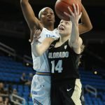 Kennedy Leonard launches a layup. Photo by Maria Noble/WomensHoopsWorld.