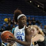 Michaela Onyenwere surveys the court. Photo by Maria Noble/WomensHoopsWorld.