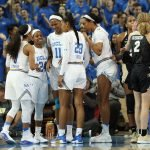 The Bruins and Buffaloes confer at a timeout. Photo by Maria Noble/WomensHoopsWorld.