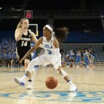 Jordin Canada is guarded by Kennedy Leonard. Photo by Maria Noble/WomensHoopsWorld.