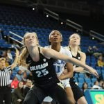 Buff and Bruin players box out for the rebound. Photo by Maria Noble/WomensHoopsWorld.