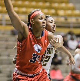 Chyna Ellis holds the Sun Belt Conference record for blocks, with more than 300. Photo by Brad Puckett.