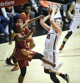 Aliyah Mazcyk defends Marie Gulich. Photo courtesy of Oregon State Athletics.