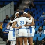 The Bruins huddle before tipoff. Photo by Maria Noble/WomensHoopsWorld.
