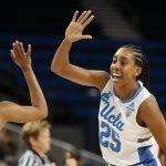 Jordin Canada and Monique Billings celebrate a bucket. Photo by Maria Noble/WomensHoopsWorld.