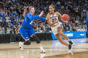 A'ja Wilson drives to the basket. Photo courtesy of South Carolina Athletics.