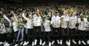 Oregon players react to hearing they are a No. 2 seed. Photo courtesy of Oregon Athletics.