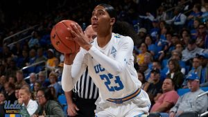Kelli Hayes scored 18 points against Cal, including five three-point shots. Photo courtesy of UCLA Athletics.