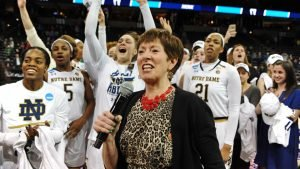 Muffet McGraw speaks to the crowd after the Irish won the Spokane regional. Photo by James Snook-USA TODAY Sports