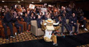 The Texas Longhorns react to being selected for the NCAA Tournament Monday. Photo courtesy of Texas Athletics.
