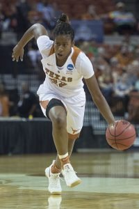 Ariel Atkins drives the ball up court. Photo courtesy of Texas Athletics.