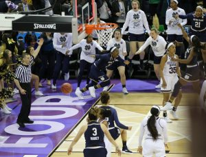 Notre Dame's Arike Ogunbowale reacts after her buzzer-beater shot falls at the end of the national championship game. Photo by Joe Maiorana, USA Today Sports.