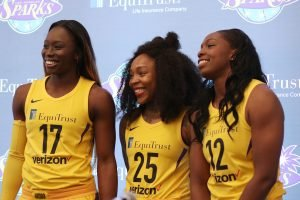 Essence Carson, Cappie Pondexter and Chelsea Gray.