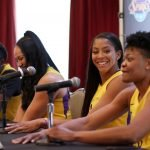 Shakayla Thomas, Mistie Bass, Candace Parker and Alana Beard. Photo by Maria Noble/WomensHoopsWorld.