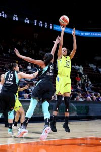 Azura Stevens shoots the ball against the New York Liberty earlier this week. Photo by Chris Marion/NBAE via Getty Images.