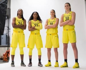Jewell Loyd, Jordin Canada, Sue Bird and Breanna Stewart. Neil Enns/Storm Photos.