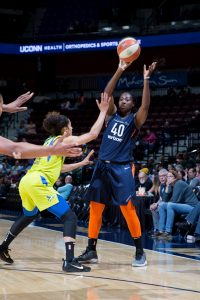 Veteran Shekinna Stricklen has been a rock-solid reserve for Connecticut. Photo by Chris Marion/NBAE via Getty Images.