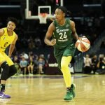 Jewell Loyd looks for an outlet pass. Maria Noble/WomensHoopsWorld.
