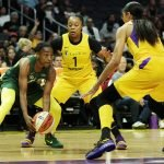 Jewell Loyd is defended by Odyssey Sims and Candace Parker. Maria Noble/WomensHoopsWorld.