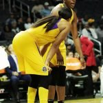 Candace Parker and Nneka Ogwumike confer at a pause in the game. Maria Noble/WomensHoopsWorld.