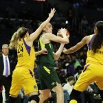 Breanna Stewart is double-teamed. Maria Noble/WomensHoopsWorld.