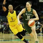 Sue Bird leads the Storm fast break. Maria Noble/WomensHoopsWorld.