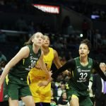 Breanna Stewart, Candace Parker and Alysha Clark prepare to box out. Maria Noble/WomensHoopsWorld.