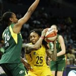 Cappie Pondexter is defended by Jewell Loyd. Maria Noble/WomensHoopsWorld.
