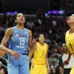 Gabby Williams, left, and Odyssey Sims look to get the rebound. Photo by Maria Noble/WomensHoopsWorld.