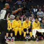 The referee calls Chicago ball possession. Photo by Maria Noble/WomensHoopsWorld.