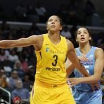 Candace Parker boxes out Gabby Williams. Photo by Maria Noble/WomensHoopsWorld.