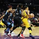 Candace Parker is double-teamed. Photo by Maria Noble/WomensHoopsWorld.