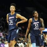 Imani McGee-Stafford and Jessica Breland. Photo by Maria Noble/WomensHoopsWorld.