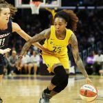 Cappie Pondexter is defended by Blake Dietrich. Photo by Maria Noble/WomensHoopsWorld.