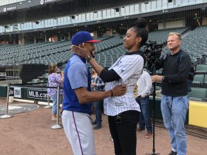 Delino DeShields Jr. and Diamond DeShields hug before a Chicago White Sox game last month. Photo courtesy of Chicago White Sox.