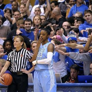 Diamond DeShields yawns at a Duke home game in 2014. AP stock photo.