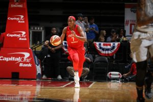 Ariel Atkins drives the ball up court. Photo courtesy of Washington Mystics.
