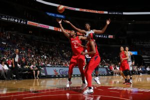 Myisha Hines-Allen battles for a rebound. Photo courtesy of Washington Mystics.