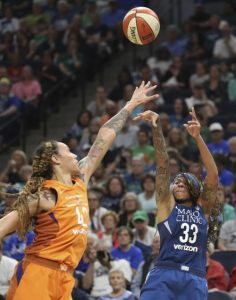 Seimone Augustus shoots over Brittney Griner in the first half. David Joles/Star Tribune via AP.