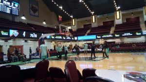 Liberty players at shootaround at Westchester County Center. Photo by Jim Clark.