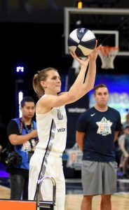Allie Quigley shoots the last rack of balls during the three-point shooting contest. Maggi Stivers/WomensHoopsWorld.