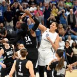 Liz Cambage tips the ball to her teammate to begin the All-Star Game. Maggi Stivers/WomensHoopsWorld.