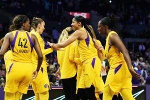 The Sparks celebrate their win over the New York Liberty June 24. Photo by Maria Noble/WomensHoopsWorld.