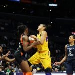 Candace Parker goes up for a shot against Chiney Ogwumike. Maria Noble/WomensHoopsWorld.