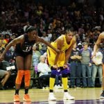Chiney Ogwumike, Candace Parker and Betnijah Laney line up for a free throw shot. Maria Noble/WomensHoopsWorld.