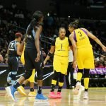 Candace Parker has a word with Odyssey Sims. Maria Noble/WomensHoopsWorld.